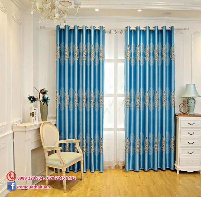 Rèm cửa vải gấm chống nắng 3D